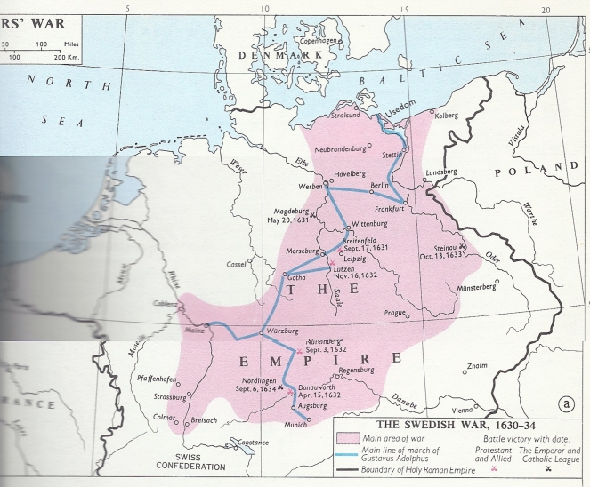 Map Of Gustavus Adolphus In Germany